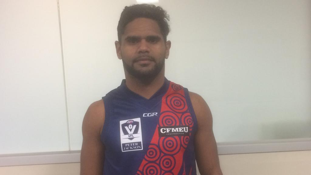Coburg's Rivva Karpany in the NAIDOC-themed guernsey the Burgers will wear for its game against Werribee on Saturday.
