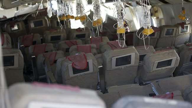 The interior of Asiana Flight 214 after the crash.