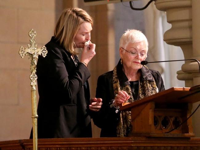 Philomene Tiedrnan's niece Josephine Wright and sister Madeleine Wright at her memorial service in Randwick yesterday. Picture: Johm Grainger