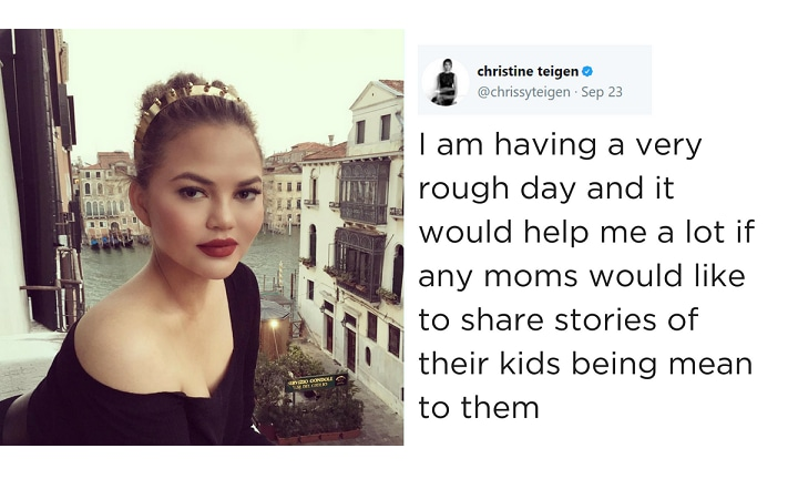 Chrissy Teigen begs mums to share the worst thing kids have said to them