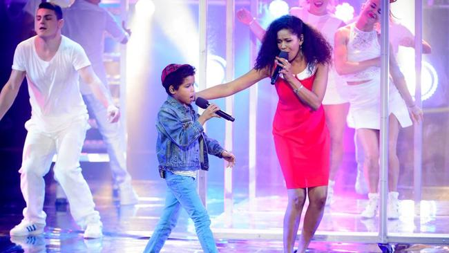 He's got talent ... Dean Brady on stage with mum Trevelyn for Australia's Got Talent. Picture: Supplied