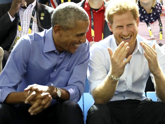 Obama and Prince Harry have quite the bromance. Picture: Chris Jackson/Getty Images for the Invictus Games Foundation