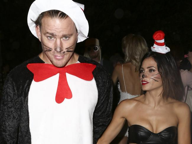 Channing Tatum and Jenna Dewan-Tatum in matching costumes in versions of Cat in the Hat for Halloween. Picture: Splash