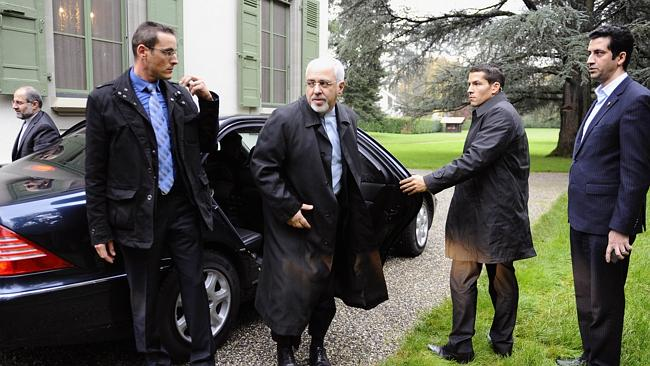Iranian Foreign Minister Mohammad Javad Zarif (C) arriving for talks with the EU foreign policy chief over his country's nuclear program in Geneva. Picture:AFP/ EUROPEAN COMMISSION/ALAIN GROSCLAUDE