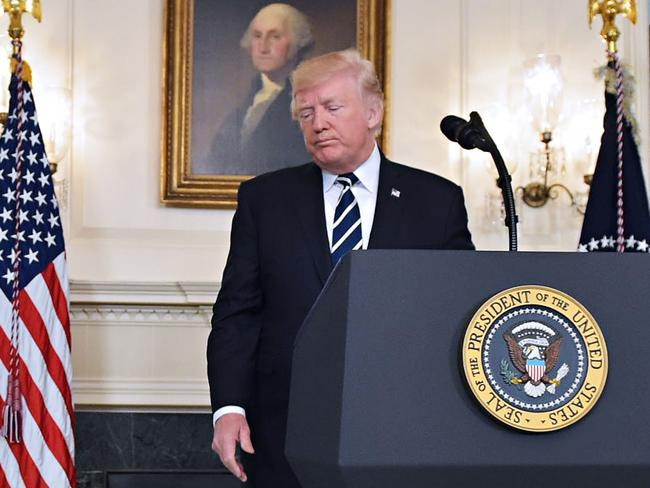 US President Donald Trump didn't refer to firearms once in his initial remarks about the mass shooting. Picture: Mandel Ngan/AFP Photo