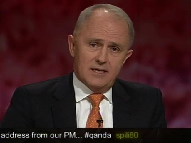 Leadership material ... Communications Minister Malcolm Turnbull's performance on ABC's Q&A was largely considered to be an application for the top job. Picture: ABC