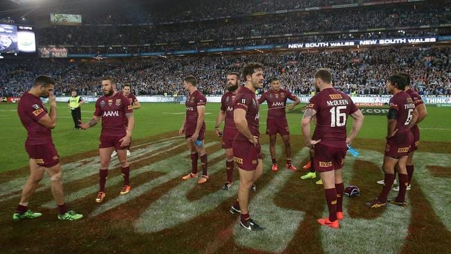 Dejected Maroons at full time. Picture: Peter Wallis