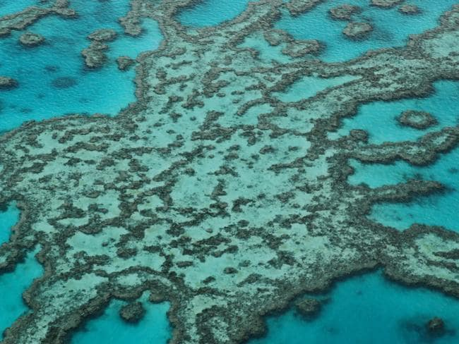 Aerial image of the outer Great Barrier Reef off the Whitsundays. Photo Lachie Millard
