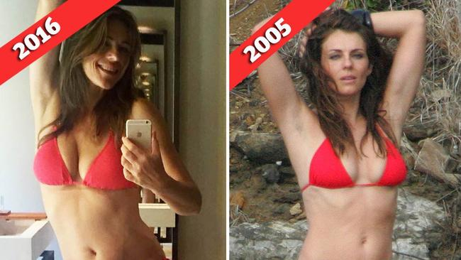 Still got it... Hurley is wearing the same bikini she wore back in 2005. Pictures: Instagram; LFI/Australscope