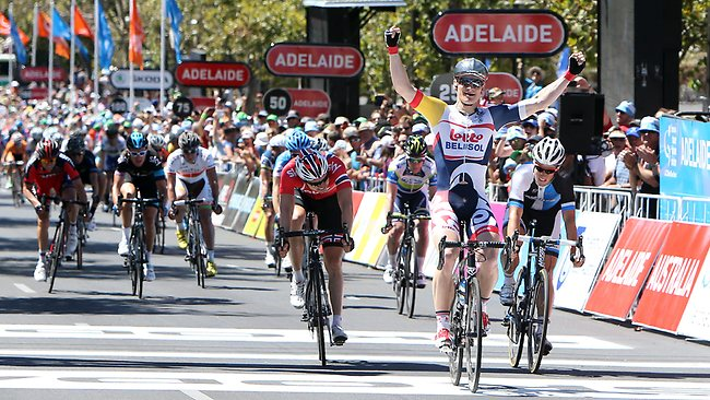 Andre Greipel wins the final stage of the Tour Down Under. Picture: Sarah Reed