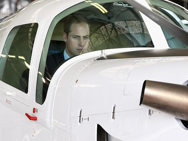 Ready to fly ... Prince William, Duke of Cambridge is shown a plane as he visits Pacific Aerospace. Picture: Chris Jackson/Getty Images