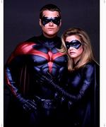 "<p>Actor Chris O'Donnell with Alicia Silverstone in scene from film ""Batman and Robin.""</p>"