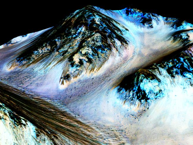 NASA scientists find evidence of flowing water on Mars. Picture: NASA/JPL-Caltech/University of Arizona