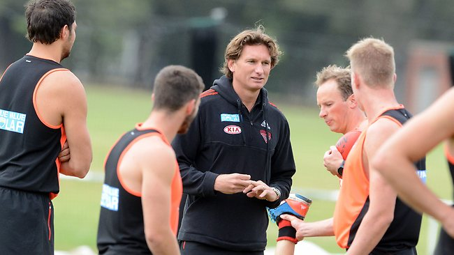 James Hird keeps an eye on his players as they begin pre-season training. Picture: Wayne Ludbey