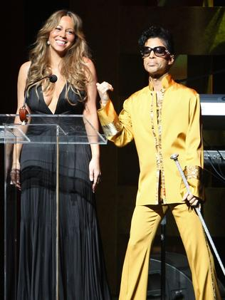 Mariah Carey and Prince appear onstage together at the 75th Anniversary Gala at The Apollo Theater in 2009. Picture: Bryan Bedder/Getty Images