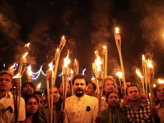 One of many protests against the killing and attacks on the publisher and bloggers in Dhaka, Bangladesh, last month.