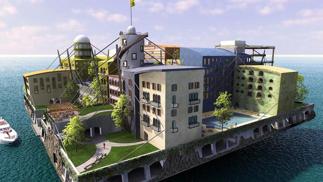"A ""seasteading"" or artificial island design by Andreas Gyorfi. Picture: seasteading.com"