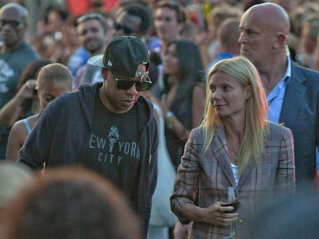 Mates ... Jay Z and Gwyneth Paltrow arrive to watch Beyonce perform at the 2011 Glastonbury Music Festival in Glastonbury, England. Picture: Supplied