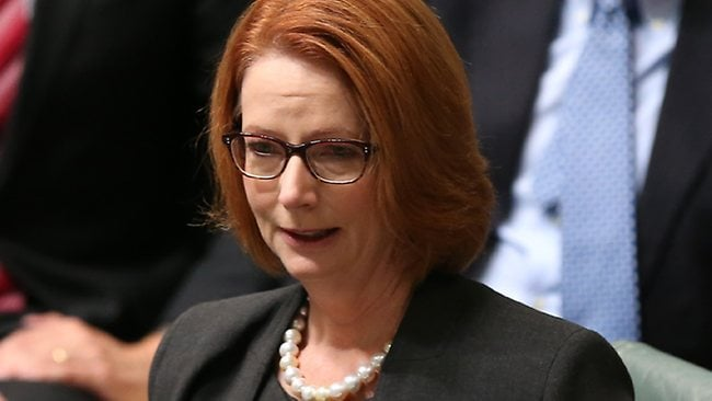 PM Julia Gillard is emotional while speaking on the medicare levy bill in the House of Representatives Chamber, Parliament House in Canberra. Picture: Smith Kym
