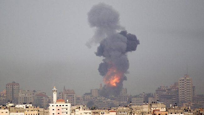 Explosion and smoke rise following an Israeli strike in Gaza, seen from the Israel Gaza Border, southern Israel, in southern Israel. Picture: AP