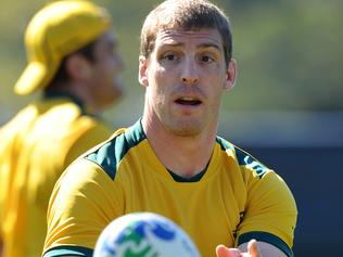 **FILE** A Saturday, Sept 10, 2011 file photo of Wallabies player Dan Vickerman in action during the Australian team captains run at The Trust's Stadium in Auckland, New Zealand. Vickerman has died at his home in Sydney, aged 37, on Sunday, Feb 19, 2017. (AAP Image/Dave Hunt) NO ARCHIVING, EDITORIAL USE ONLY