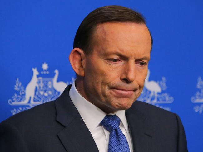 'Available' PM ... Tony Abbott speaking at press conference, at Parliament House in Canberra this morning. Picture: Kym Smith