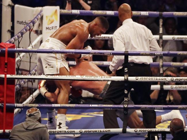 Anthony Joshua knocks down Wladimir Klitschko. (AP Photo/Matt Dunham)