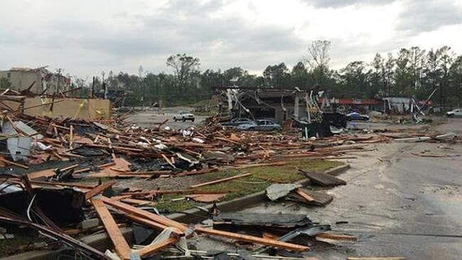 Major damage ... a violent storm has caused chaos in the town of Tupelo, Mississippi.