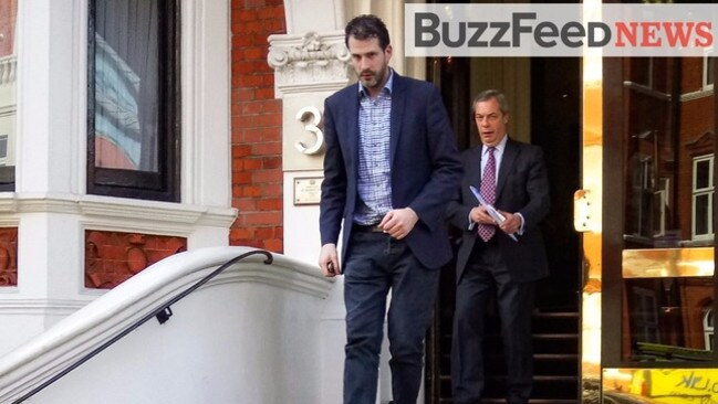 Nigel Farage spotted leaving a meeting with Wikileaks founder Julian Assange (not pictured). Picture: Buzzfeed