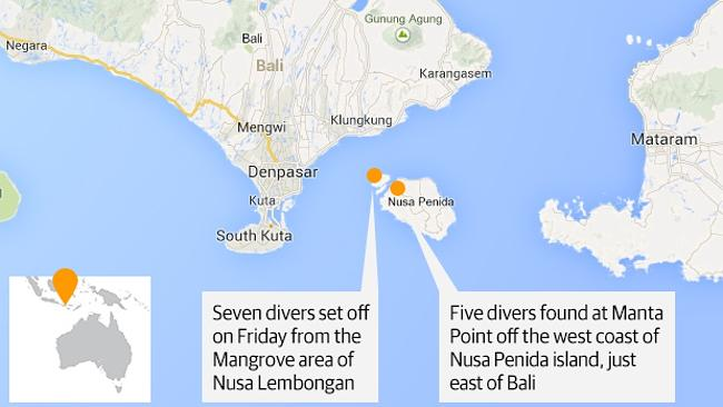 Story of survival ... map showing where the expedition began and when five divers were located.