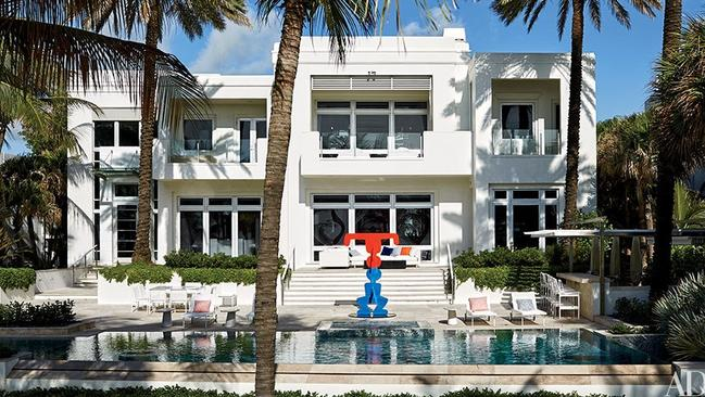 The sculpture outside the Miami home is just a small hint at the amazing interior. Picture: Douglas Friedman, Architectural Digest.