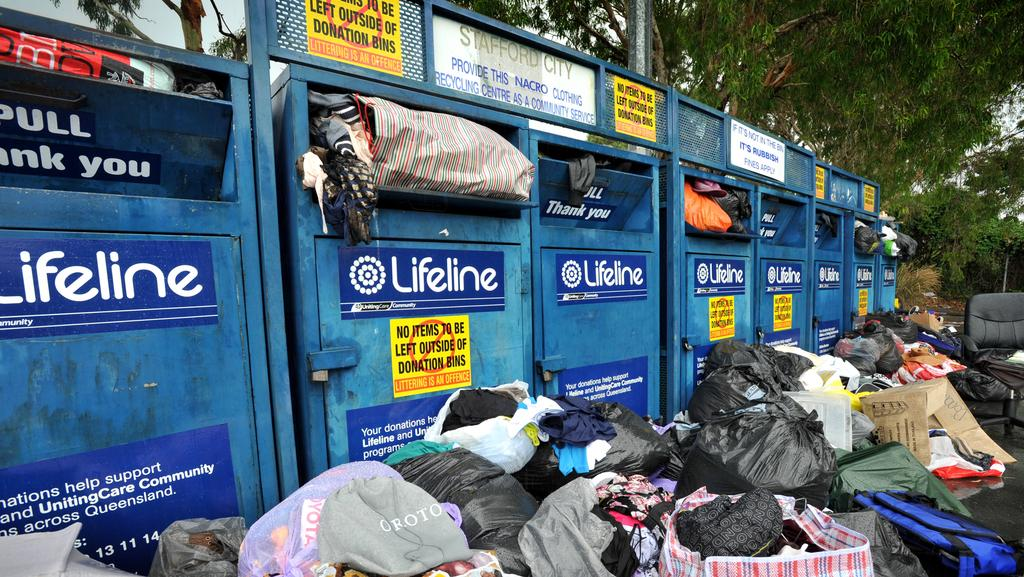 Image result for charity bins overflowing