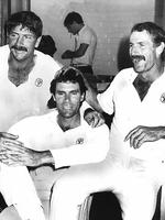 Rod Marsh (from left), Greg Chappell and Dennis Lillee relax in the locker room at the SCG. Picture: Ray Titus