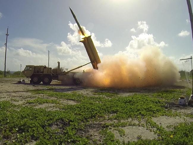A terminal High Altitude Area Defense (THAAD) interceptor being launched from a THAAD battery located on Wake Island in the Pacific Ocean.