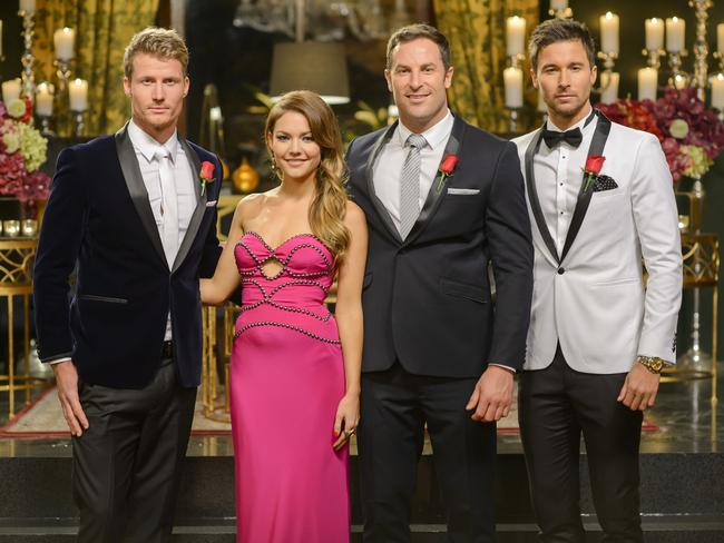 Sam Frost with her final three Bachelors (from left) Richie Strahan, Sasha Mielczarek and Michael Turnbull the creepster.