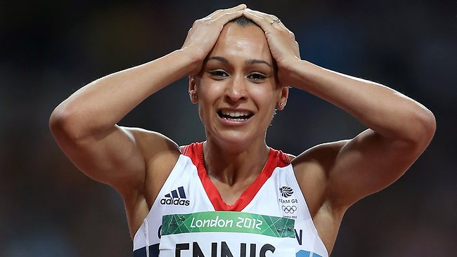 The enormity of Jessica Ennis' achievement dawns on her as she crosses the line in the 800m to win gold for Great Britain.