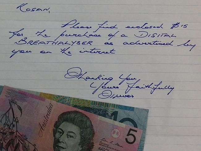 Trevor Head's letter to Kogan with $15 cash included.