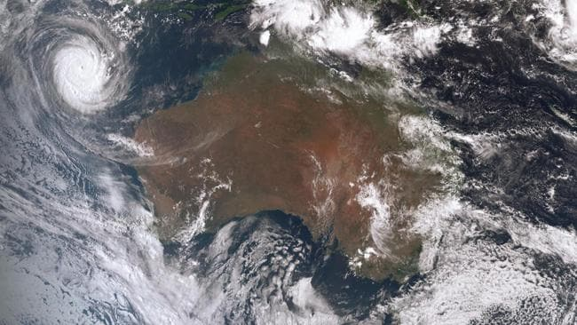 Cyclone Marcus (top left) is now a huge category 5 storm and is tracking south, parallel to the WA coast. Another cyclone is bubbling up in the Top End. Picture: Bureau of Meteorology