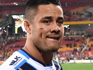 Jarryd Hayne of the Gold Coast Titans looks on after losing their NRL Elimination Final game against the Brisbane Broncos at Suncorp Stadium in Brisbane, Friday, Sept. 9, 2016. (AAP Image/Dan Peled) NO ARCHIVING, EDITORIAL USE ONLY