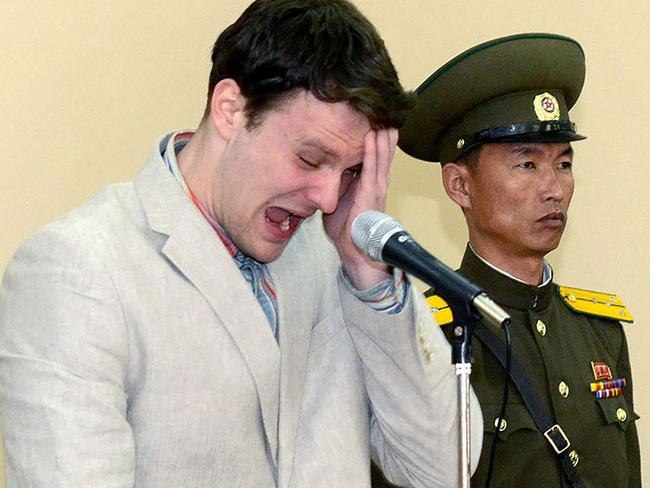 Donald Trump referred to North Korea's cruel treatment of Otto Warmbier in his speech. Picture: AFP/ KCNA