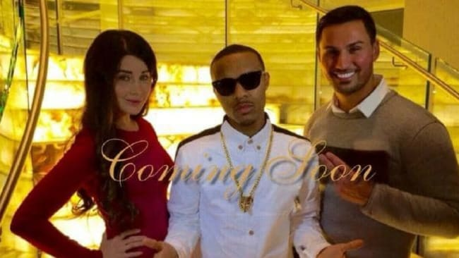 Mehajer posed in front of the staircase with rapper Bow Wow, and his estranged wife Aysha. Photo: Facebook