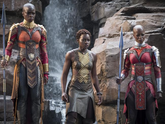 Danai Gurira, Lupita Nyong'o and Florence Kasumba in a scene from the much-anticipated Black Panther. Picture: Matt Kennedy/Marvel Studios