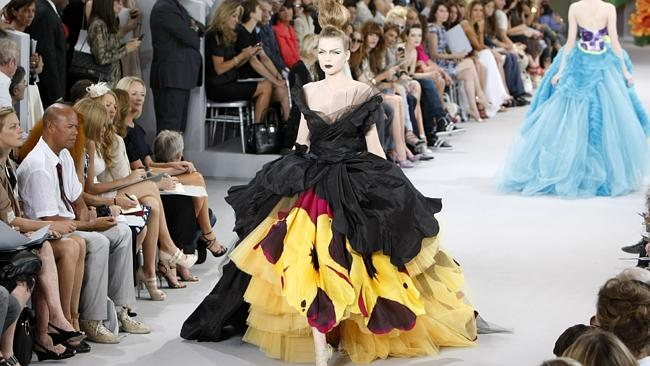 Work of art...A model presents a creation by British fashion designer John Galliano, as part of the Christian Dior Fall-Winter 2010-2011 Haute Couture collection in Paris. Dior has a model of Ayoub's body in their workshop so they can tailor items to her figure.