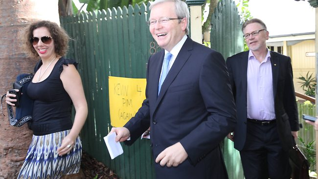 Kevin Rudd leaves from his house in Norman Park. Picture: Jono Searle