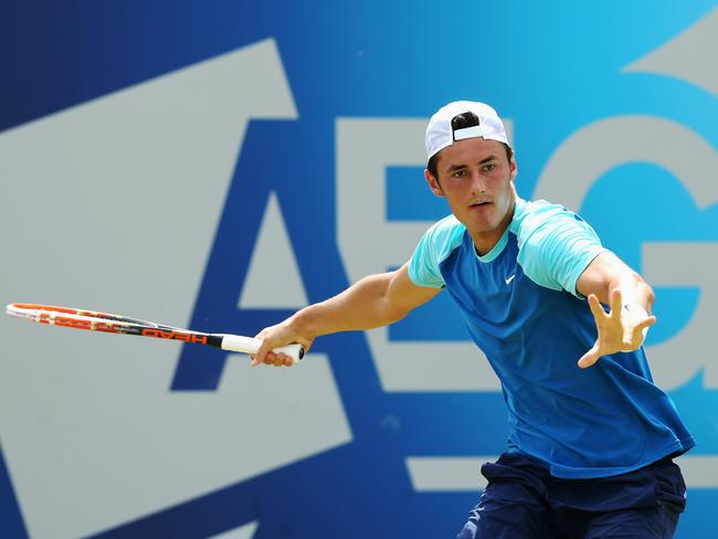 Crisis averted ... Bernard Tomic beats Radek Stepanek on day three of the Aegon Championships at Queen's Club.