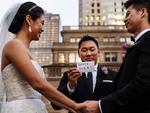 This groomsman expresses his thoughts about the day for all to see. Picture: STEVE YOUNG / ISPWP / CATERS NEWS