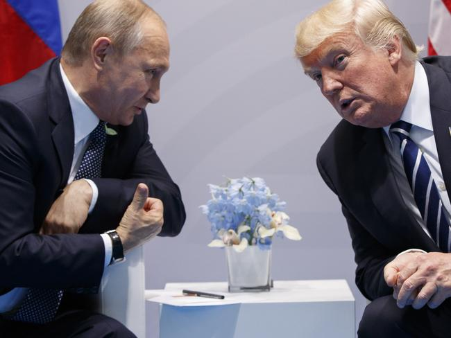 President Donald Trump met with Russian President Vladimir Putin at the G20 Summit in Hamburg. Picture: AP Photo/Evan Vucci, File.