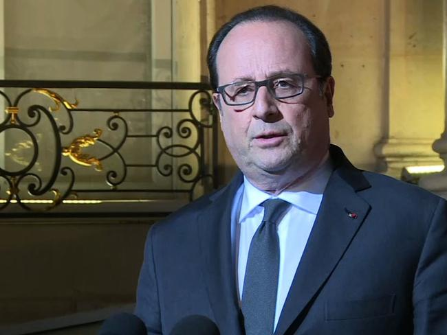French President Francois Hollande speaking at the Elysee Palace in Paris after the terror attack.