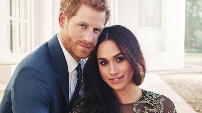 Prince Harry and Meghan Markle in an official engagement photo. Picture: Alexi Lubomirski via AP)