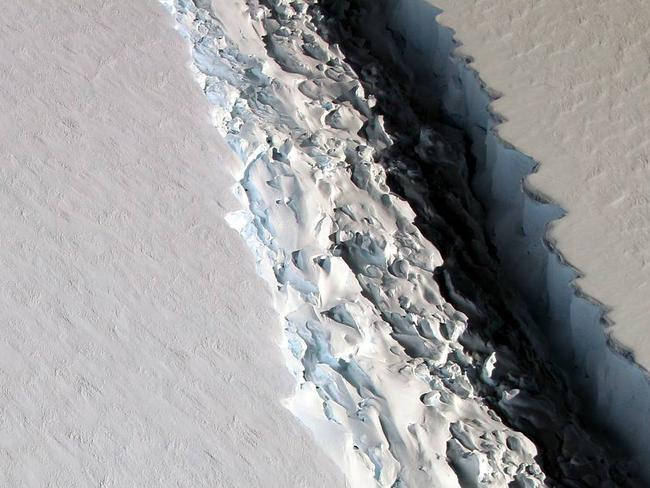 The crack in the Larsen C ice shelf as pictured by NASA. Picture: NASA/John Sonntag
